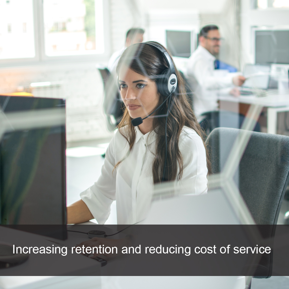 Newly recruited call centre employee takes a call at not for profit company
