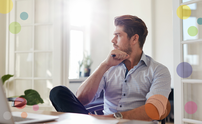 man thinking in the workplace - small